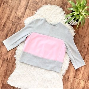 COS Boxy Colorblock Pink and Grey Top